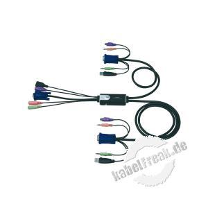 ATEN Hybrid KVM Switch mit Audio, PS/2 und USB, mit getrennter Audio-Umschaltung, 2-fach 2 PCs mit USB-, PS/2-, VGA- und Audio-Anschluss werden von 1 Arbeitsplatz (PS/2 Tastatur, VGA Monitor, USB Maus, Lautsprecher und Mikrofon) gesteuert
