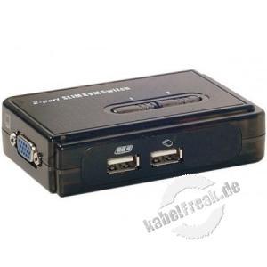 Mini 2 Port KVM Switch für VGA/ USB  2 PCs mit USB-Anschluss werden von 1 Arbeitsplatz gesteuert. Komfortables Umschalten mittels hotkey möglich