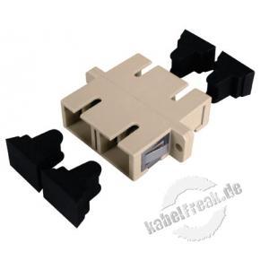 LWL Kupplung SC/SC, Duplex, Multimode, Kunststoff-Gehäuse mit Metall-Ferrule, beige Befestigung durch Clipse (optional durch Schrauben)