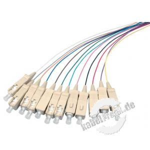 LWL Faserpigtails, farbig, 9/125 µm, OS2-Faser, 12x SC Stecker blau, 2,0 m 12 SC Faserpigtails mit farbiger Codierung zum Einbau in Spleißboxen