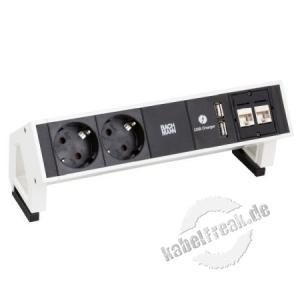 Bachmann DESK 2 , 2 x Schutzkontakt, 2 x Cat6, 1 x USB Charger für die flexible Nutzung im Büro, in Besprechungsräumen, im Home-Office oder für das Desk-Sharing