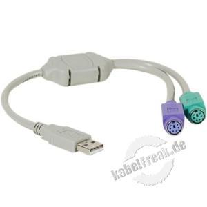 USB Adapter an 2x PS/2 Zum Anschluss einer PS/2 Tastatur und Maus an einen USB Port