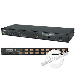 ATEN KVM Switch, USB und PS/2, 16-fach, 19' 16 PCs mit USB- oder PS/2-Anschluss werden von 1 Arbeitsplatz (USB oder PS/2 Tastatur, Monitor, USB oder PS/2 Maus) gesteuert