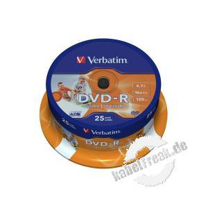 Verbatim bedruckbare DVD -R, 4,7 GB, 16x, 25er Spindel Mit Tintenstrahldrucker in Fotoqualität bedruckbar