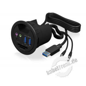 ICY BOX, IB-HUB1404A, Tisch-Hub mit 2 Kartenlesern, Audio Ein-/Ausgang, Ladefunktion und LED 3 Port USB 3.0 Tisch-Hub, schwarz