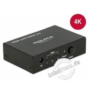 DeLOCK HDMI Switch 3 in > 1 out HDMI 4K UHD Mit diesem Delock HDMI Switch können bis zu drei HDMI Geräte an einem HDMI Monitor, TV oder Beamer betrieben werden