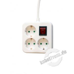 Dexlan Steckdosenleiste Quadrat 3-fach, mit Schalter, Anschlussleitung 1,5 m, weiß