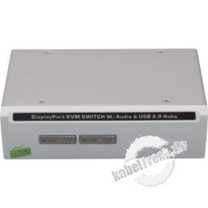 Dexlan KVM Switch, 2-Port, DisplayPort und USB 2.0, Metallgehäuse KVM Switch mit kombinierten Oktopuskabeln