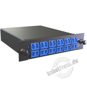MTP / MPO Kassette, Fanout 900 µm Singlemode OS2, 2x MTP / 24x LC farbig, 12x LC Duplex-Kupplung blau, Gehäuse schwarz RAL 9005 Kassette mit Fanout und LWL-Kupplungen zum Einbau in der Verteilerbox