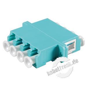 LWL Kupplung LC/LC, 4-fach, Multimode OM3, Kunststoff-Gehäuse mit Keramik-Ferrule, aqua