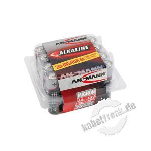 Ansmann Red-Line Batterie 20-er Box, Mignon (AA), VE: 20 Stück Zellen mit hervorragender Qualität im ansprechenden Design für den tagtäglichen Einsatz