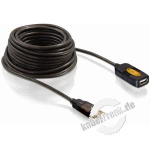 DeLOCK USB 2.0 Verlängerungskabel, aktiv 10 m Dieses USB Kabel können Sie an einen aktiven USB Port anschließen und dient zur Verlängerung der USB Schnittstelle um 10 m. Durch Anstecken einer weiteren 10 m Verlängerung lässt sich das Kabel um bis zu 20 m