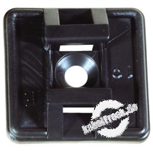 Befestigungssockel für Kabelbinder bis 4,8 mm Breite, schwarz, VE 100 Stück Selbstklebender Sockel zum Fixieren der Kabel mit Kabelbindern