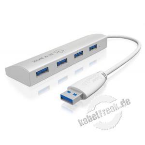 ICY BOX USB 3.0 Hub IB-AC6401, 4 Port, mit Ladefunktion, silber Ideal für Geräte mit Spannungsversorgung über USB