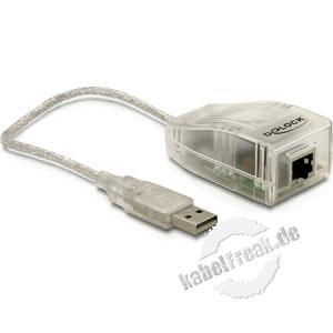 DeLOCK 61147 Adapter USB 2.0 Ethernet RJ45 10/100  Der USB-RJ45 Adapter ist ein leistungsstarker Netzwerkkonverter für die USB 2.0 Schnittstelle und verfügt über einen 7K x 16-bit SRAM Buffer.