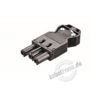 Bachmann Gerätekupplung GST18i3 schwarz Montagefertig, mit Zugentlastung
