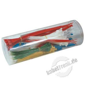 Kabelbinder Sortiment, 300 Stück farbig sortiert und verschiedene Größen (200 Stück 98 x 2,5mm, 100 Stück 200 x 2,3mm) Sortiment von farbig gemixten Kabelbindern in einer Box