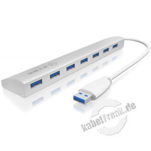 ICY BOX USB 3.0 Hub IB-AC6701, 7 Port, mit Ladefunktion, silber Ideal für Geräte mit Spannungsversorgung über USB