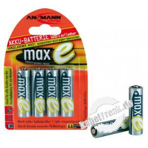 Ansmann maxE NiMH-Akku, sofort einsatzbereit, Mignon (AA), 2100 mAh, VE: 4 Akku mit sehr geringer Selbstentladung, kann daher wie eine Batterie sofort eingesetzt werden