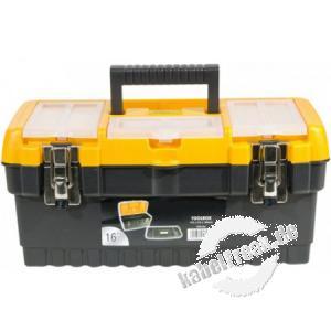 Werkzeugkoffer aus Kunststoff mit Metallschlössern, ca.  413 x 212 x 186 mm mit Aufbewahrungsfächern im Deckel für Kleinteile