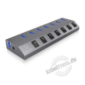 ICY BOX IB-HUB1701-U3 7 Port USB 3.0 Hub und Ladegerät Der IB-HUB1701-U3 kann dank USB 3.0 eine maximale Bandbreite von bis zu 5 Gbit/s erreichen