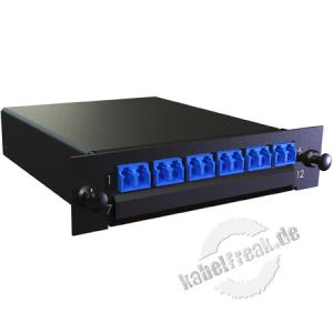 MTP / MPO Kassette, Fanout 900 µm Singlemode OS2, 1x MTP(M) / 12x LC farbig, 6x LC Duplex-Kupplung blau, Gehäuse schwarz RAL 9005 Kassette mit Fanout und LWL-Kupplungen zum Einbau in der Verteilerbox