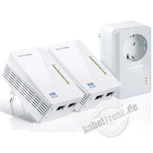 TP-Link TL-WPA4220TKIT AV500-300Mbps-WLAN-Powerline-Extender KIT Erweitern Sie Ihr WLAN in alle Zimmer Ihres Zuhauses! Enthält 2x TL-WPA4220 und 1x TL-PA4010