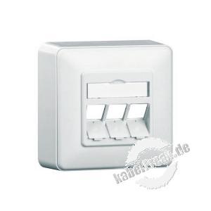 MetzConnect Datendose E-DAT modul, unbestückt, 3-fach, Aufputz, reinweiß RAL 9010 Zum Anschluss von bis zu 3 PCs