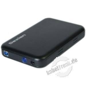 Dexlan SATA Aluminium-Gehäuse CE-352U3, 3,5', USB 3.0, schwarz Gehäuse mit USB 3.0 Anschluss und OTB zum Einbau von 3,5' SATA Festplatten