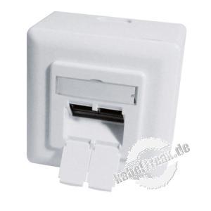 Datendose, Cat.6A EIA/TIA-568B, Keystone-Format, 2-fach, Aufputz / Unterputz, reinweiß RAL 9010 Modular aufgebaute Netzwerkdose zum Anschluss von 2 PCs