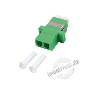 LWL Kupplung LC/LC, Duplex, Singlemode APC, Kunststoff-Gehäuse mit Keramik-Ferrule, grün Ausbrüche 9 x 13 mm