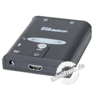 2-Port KVM Switch HDMI mit USB 2.0, Auflösung bis zu 4K Umschalten zwischen zwei Rechnern mittels Schalter oder Hotkey