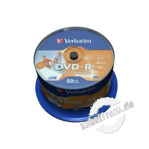 Verbatim bedruckbare DVD -R, 4,7 GB, 16x, 50er Spindel Mit Tintenstrahldrucker in Fotoqualität bedruckbar