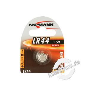 Ansmann Knopfzelle, LR44, 1,5 V Alkaline, VE: 1