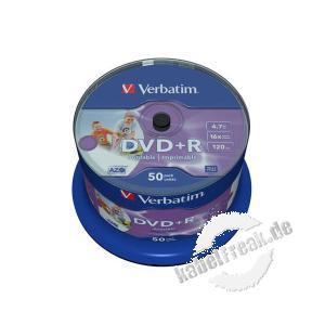 Verbatim bedruckbare DVD +R, 4,7 GB, 16x, 50er Spindel Mit Tintenstrahldrucker in Fotoqualität bedruckbar