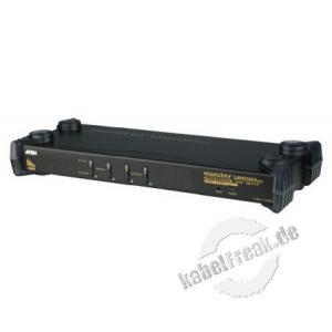 ATEN KVM Switch mit VGA / Audio, USB und PS/2, 4-fach, Desktop und 19' 4 PCs mit USB- oder PS/2-Anschluss werden von 1 Arbeitsplatz (USB Tastatur, Monitor, USB Maus, Lautsprecher, Mikrofon) gesteuert