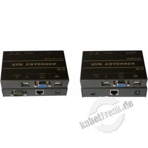 KVM Extender VGA, USB über Cat.5 bis 150m. Reichweite zur Übertragung von Monitor-, Keyboard- und Maussignalen bis zu 150 m über Cat.5e Verkabelung