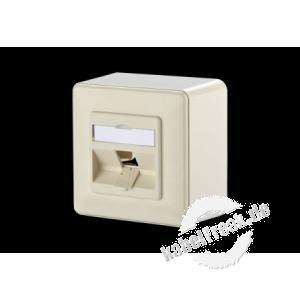 MetzConnect Datendose Modul Anschlussdose, AP, Aufputz, 1 Port, unbestückt, perlweiß  Zum Anschluss von einem PC