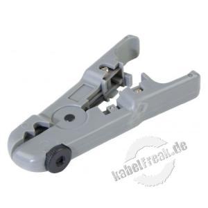 Abisoliergerät für Twisted Pair (UTP/STP) Zum Abisolieren von runden Datenkabeln mit Außendurchmessern 3,5 bis 9 mm sowie von Flachkabeln