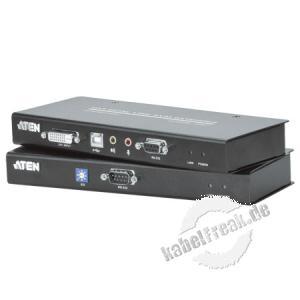 ATEN DVI KVM Extender mit Audio CE600, Single Link Ermöglicht die Übertragung von Monitor-, Keyboard-, Maus-, Audio- und seriellen Signalen bis zu 60 m über die vorhandene Cat.5e Verkabelung
