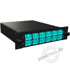 MTP / MPO Kassette, Fanout 900 µm Multimode OM3, 2x MTP(M) / 12x LC farbig, 12x LC Duplex-Kupplung aqua, Gehäuse schwarz RAL 9005 Kassette mit Fanout und LWL-Kupplungen zum Einbau in der Verteilerbox