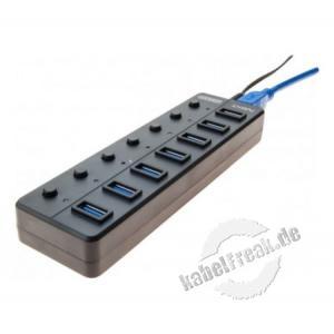 USB 3.0 Hub 7 port, mit Netzteil und Switches 7 Ports mit individuellen Switches