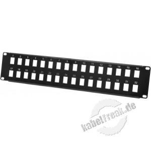 Modulträger für 32 Keystone-Anschlussbuchsen, 19', schwarz Zum Aufbau eines Patchfeldes mit bis zu 32 Ports