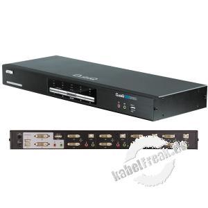 ATEN DVI Dual View KVM Switch mit Audio, NVIDIA 3D, USB 2.0, 4-fach, Desktop, mit Anschlusskabeln 4 PCs mit Dual-Port-Grafikkarten und USB-Anschluss werden von 1 Arbeitsplatz (USB Tastatur, 2x Monitor, USB Maus, Lautsprecher, Mikrofon, 2 USB Peripherieger