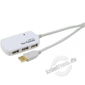 Aktives USB 2.0 Verlängerungskabel, verstärkt, mit 4 Port Hub, weiß, 12,0 m Zum Verlängern eines USB Anschlusskabels auf 12 m