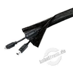 PureMounts - Kabelschlauch Polyester, 1,80 m, schwarz - dehnbar 20 mm Universeller Kabelschlauch aus Polyester für saubere Kabelführung