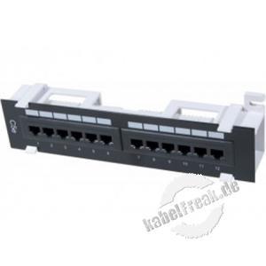 Mini Patchfeld, Cat.5e UTP, 12 Port, schwarz, inkl. Wandhalterung Kompaktes Patchfeld für kleine Installationen