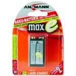 Ansmann maxE NiMH-Akku, sofort einsatzbereit, 9V-Block (E), 200 mAh Akku mit sehr geringer Selbstentladung, kann daher wie eine Batterie sofort eingesetzt werden
