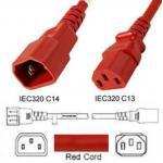 Kaltgeräte-Verlängerungskabel, Kaltgerätestecker auf Kaltgerätekupplung, 1,0 m, rot Kaltgeräteverlängerung C13/C14, Länge 1,0 m in rot