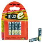 Ansmann maxE NiMH-Akku, sofort einsatzbereit, Micro (AAA), 800 mAh, VE: 4 Akku mit sehr geringer Selbstentladung, kann daher wie eine Batterie sofort eingesetzt werden